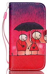 Lovers Pattern PU Leather Material Flip Card Phone Case for iPhone 4/4S