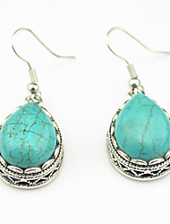 Vintage Look Antique Silver Plated Water Drop Turquoise Stone Drop Dangle Earring(1Pair)