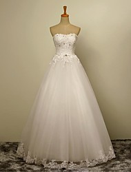 A-line Wedding Dress Floor-length Strapless Tulle with Appliques / Beading