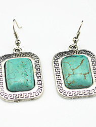 Vintage Look Antique Silver Plated Square Turquoise Black Stone Drop Dangle Earring(1Pair)