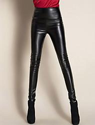 Women High Waist Bodycon Thin PU Pants , Fleece Lining