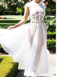 Women's Sheer Lace Chiffon Evening Dress