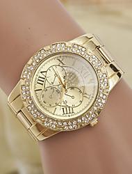 yoonheel Mulheres Relógio de Moda Simulado Diamante Relógio Quartzo imitação de diamante suíço Designer Metal Banda Dourada Dourado