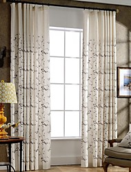 (Two Panels)Bird Embroidered Linen/Cotton Blend Curtain(Sheer Not Included)