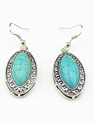 Vintage Look Antique Silver Plated Green Turquoise Stone Drop Dangle Earring(1Pair)