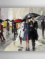 Oil Painting Poeple Taking Umbrellas Hand Painted Canvas with Stretched Framed