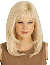 Blonde Long High Quality Natural Straight Hair Synthetic Wig with Free Bang