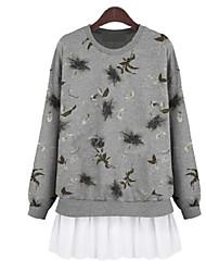 Women's Boho White / Gray Blouse , Round Neck Long Sleeve