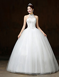 Ball Gown Wedding Dress - White Floor-length Halter Lace / Satin / Tulle