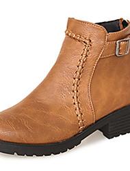 Women's Shoes Leatherette Spring / Fall / Winter Fashion Boots Dress / Casual Chunky Heel Ruffles / Zipper Black / Khaki