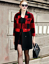Women's Solid Red Trench Coat , Vintage Long Sleeve Rayon