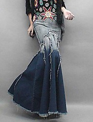 Women's  Vintage Fashion Denim Pleated Sexy  Maxi Skirt