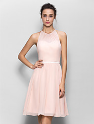 LAN TING BRIDE Knee-length Georgette Bridesmaid Dress - A-line Jewel with