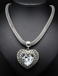 Rhinestone Heart Pendant Silver Chain Necklace