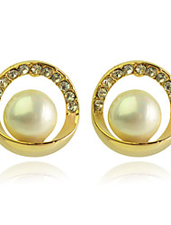 Stud Earrings Pearl Crystal Gold Plated Simulated Diamond Fashion Golden Jewelry Party Daily Casual 2pcs