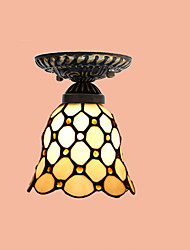 E27 220V 15*17CM 3-10㎡European Rural Creative Arts Stained Glass  Absorb Dome Lamp Led Light