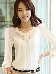 Women's New Arrival Patchwork White / Black Large Size Hin Thin Blouse , Round Neck Long Sleeve