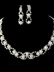 Collier / Boucles d'Oreille ( Plaqué Argent / Alliage / Zircon Cubique / Imitation Perle ) Mignon / Soirée pour Femme