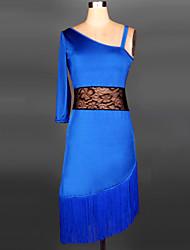 Dança Latina Vestidos Mulheres Actuação Raiom / Elastano / Poliéster / Renda Borla(s) 1 Peça Vestidos Dress:70cm Tassel:20cm