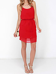 Women's Solid Red Dress , Sexy / Plus Sizes Strap Sleeveless
