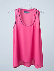 Lady's Fashion Fushia Chiffon Sleeveless Blouse,for Spring, Summer and Autumn