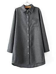 Women's Solid Blue / Red / Gray Shirt , Shirt Collar Long Sleeve