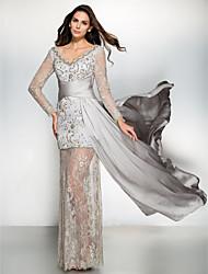Formal Evening Dress - Silver Sheath/Column V-neck Watteau Train Chiffon / Lace