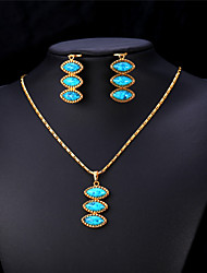 Vogue Turquoise JewelrySet 18K Real Gold Platinum Plated Ethnic Earings & Pendant Turkish Jewelry for Women High Quality
