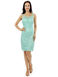 Formal Evening Dress Sheath / Column Scoop Knee-length Lace / Satin with Lace / Ruffles