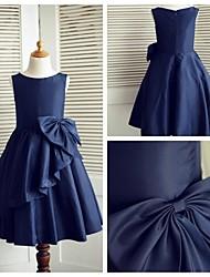 Vestido para Meninas das Flores - Linha-A Coquetel Sem Mangas Tafetá
