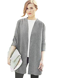 Women's Solid Gray Shirt , Halter Long Sleeve
