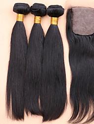 7A Best 100% Unprocessed Virgin Human Straight Hair With a Silk Closure,Virgin Hair Straight with Silk Closure
