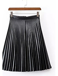 Women's A Line Color Block Pleated Skirts,Going out Vintage High Rise Midi PU Inelastic Spring / Summer