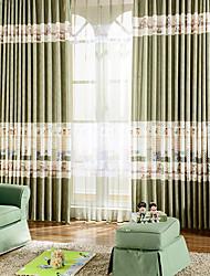 coutures de couleur dessin animé paysages chambre d'enfant poly / coton panne rideau vert (un panneau sans pure)