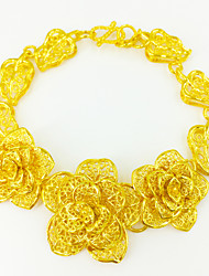 Party / Work Gold Plated Link/Chain Three hollow Rose Bracelet