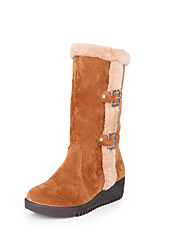 Women's Boots Spring / Fall / Winter Creepers Fleece Casual Low Heel Buckle / Fur / Slip-on Black / Yellow / Red / Beige Walking / Hiking