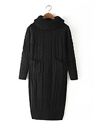 Qina Woman'S High-Necked And Long-Sleeved Knit Dress
