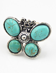 Vintage Antique Silver Volcano Lava Turquoise Stone Butterfly Adjustable Free Size Ring(1PC)