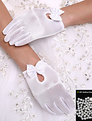 Wrist Length Fingertips Satin Flower Girl Princess Gloves Children's Glove +DIY Pearls and Rhinestones