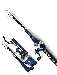 Canna da pesca con mulinello, portatile, lunghezza totale 131 cm (0.235/120,0.285/100,0.33/80)