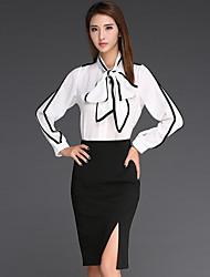 Women's Patchwork White Shirt , Shirt Collar Long Sleeve