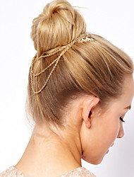 Women Fashion Gold Plated Leaf Pattern Chain Tassel Comb Hair Bands Hair Accessories