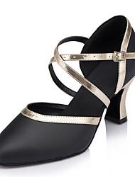 Damen Modern Echtes Leder Sandalen Aufführung Verschlussschnalle Kubanischer Absatz Schwarz 5 - 6,8 cm 7,5 - 9,5 cm Maßfertigung
