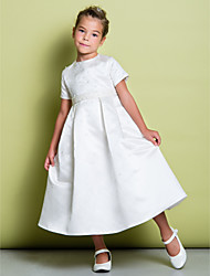 Lanting Bride A-line Tea-length Flower Girl Dress - Satin Short Sleeve Jewel with Beading