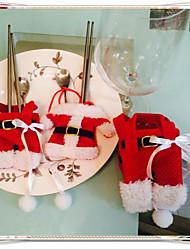 6 pcs décorations de Noël Happy Santa argenterie poches des détenteurs dîner de festas de décoration