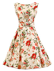 Women's Cream Floral Dress , Vintage Sleeveless 50s Rockabilly Swing Short Cocktail Dress