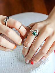 Anéis Diário / Casual Jóias Liga / Turquesa Feminino Anéis Meio Dedo 1conjunto,8 Prateado