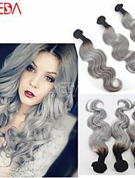 3pcs / porción brasileña de la onda del cuerpo del pelo 1b platino armadura de plata ombre 1b extensiones de cabello virgen pelo gris gris