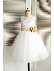 A-line Knee-length Flower Girl Dress - Lace / Tulle Sleeveless