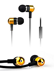High Quality Stereo Headset In Ear Metal Earphone handsfree Headphones with Mic 3.5mm Earbuds for Player Samsung iphone